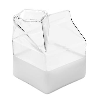 2-Pcs glass milk carton clear mini creamer container pitcher coffee cup juice bottle cai691