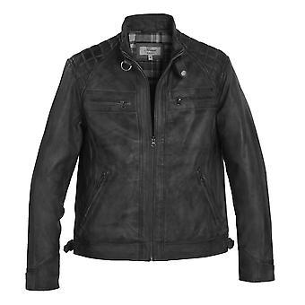 Men's Black Leather Biker Jacket with Diamond Quilt