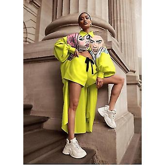 Digitaldruck Lange Hemd Shorts Anzug Damenbekleidung(L)