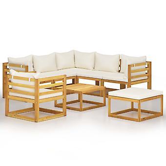 vidaXL 8-tlg. Kit de jardin-salon avec crème bois massif acacia