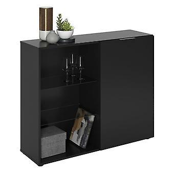 FMD Cofre de Cajones 1 Puerta y compartimentos abiertos Negro