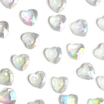86 Akryl 12mm Diamante Hjerte Bord Scatter for Bryllup og Fester - Klar Iris