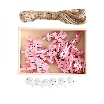 Creative 30pcs Pink Cloth Shape Photo Wall Decoration Clip With 10m Hemp Rope And 6 Wall Hooks