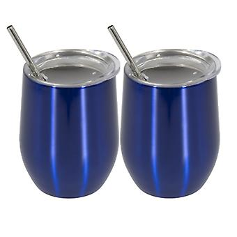 Stainless steel insulated flask, 350ml steel mug, 2 pieces coffee mug with straw(Navy blue)