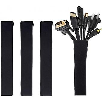 Cable Management Sleeves,wire Hider Cord Organizer System With Zipper