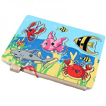 Baby Educational Toys 7pcs Wooden Magnetic Fishing Toy Set Fish Game