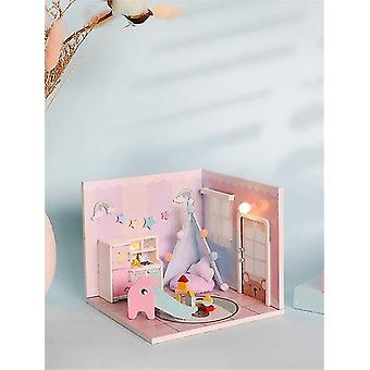 Kann frei süß süß Puppenhaus Möbel frei Staubabdeckung neun Designs DIY Miniatur Holz kombiniert werden