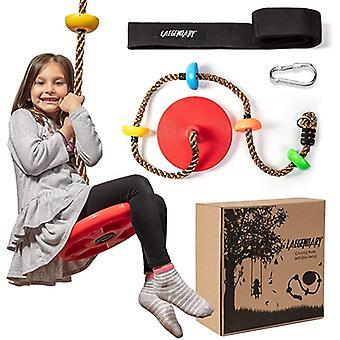 プラットフォームとディスクスイングシートでロープツリースイングを登る - 子供のための遊び場スイングセット屋外 - カラビナと2フィートストラップ