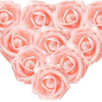 """100pcs ורדים לבנים מלאכותיים 7 ס""""מ פרחים, ראשי פרחים קישוטים לבנים, קישוטי שיער לבן משתה חתונה"""