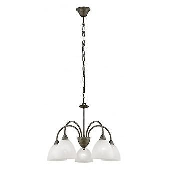 Eglo Dionis 5 Light Traditional Ceiling Pendant Rusty Finish Wit