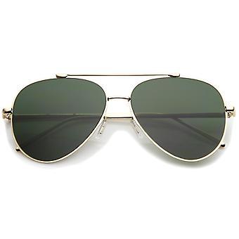 Klassieke grote Teardrop dwarsbalk vlakke Lens Aviator zonnebril 60mm