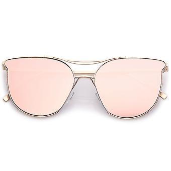 نظارات العين القطة المعدنية الحديثة مع جسر الآنف مزدوجة مستديرة مسطحة الوردي العدسة 55 مم