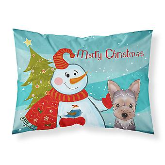Snowman with Yorkie Puppy Fabric Standard Pillowcase