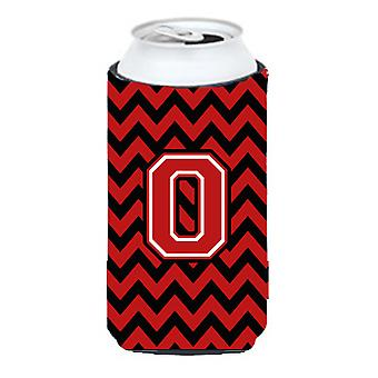 Letter O Chevron Black and Red   Tall Boy Beverage Insulator Hugger