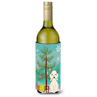 Merry Christmas Tree Bedlington Terrier Sandy Wine Bottle Beverge Insulator Hugg