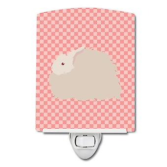 Fluffy Angora Rabbit Pink Check Ceramic Night Light