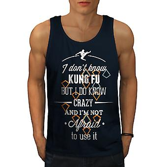 Kung Fu Crazy Cool Men NavyTank Top | Wellcoda