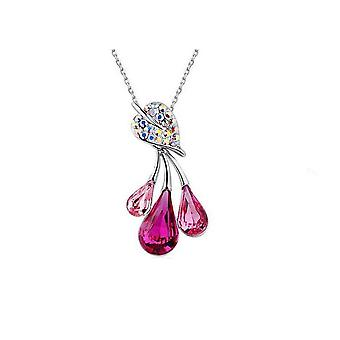 Pink Womens Jewellery Set Flower Leaf Waterdrop Pendant Necklace