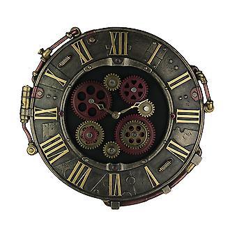 Relógio de parede de placa steampunk Bronze acabamento rebite com o movimento de engrenagens