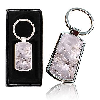 i-Tronixs - Premium Marble Design Chrome Metal Keyring with Free Gift Box (2-Pack) - 0049