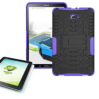 Hybrid outdoor bag purple for Samsung Galaxy tab A 10.1 T580 + 0.4 tempered glass