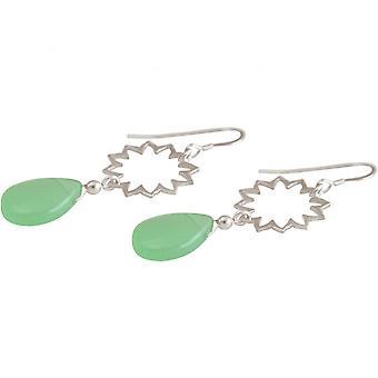 السيدات-حلق-أقراط-925 الفضة--ماندالا-تشالسيدوني-التنقيط-الأخضر--يوجا-4، 5 سم