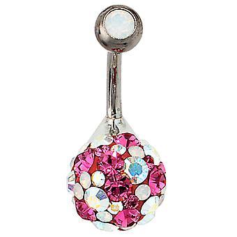 Piercing 925 /-s / titanium sølv element rosa Crystal navle piercing