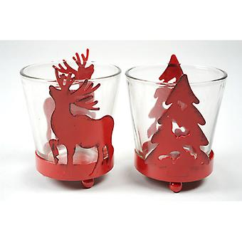 Christmas Candle Holder Red