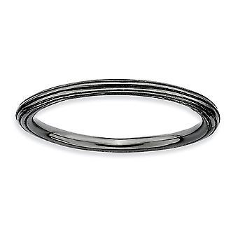 925 Sterling Sølv Polert Mønstret Ruthenium plating stables uttrykk Svart belagt Trinn ned Ring Smykker Gaver