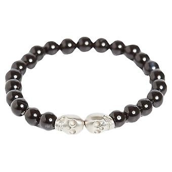 Simon Carter Onyx bead with Double Skull Bracelet - Black/Silver