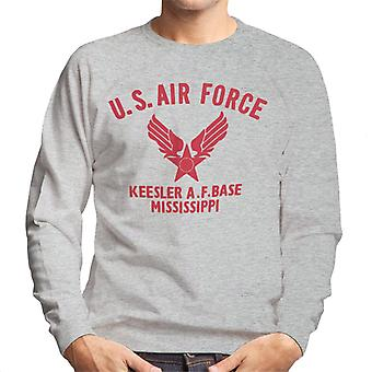 US Airforce Keesler AF Base Mississippi Red Text Men's Sweatshirt
