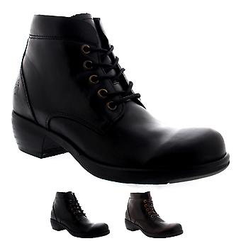 Womens Fly London Mesu Casual Leather Biker Lace Up Cuban Heel Ankle Boot