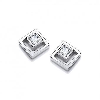 Cavendish francese argento e CZ Square in orecchini quadrati