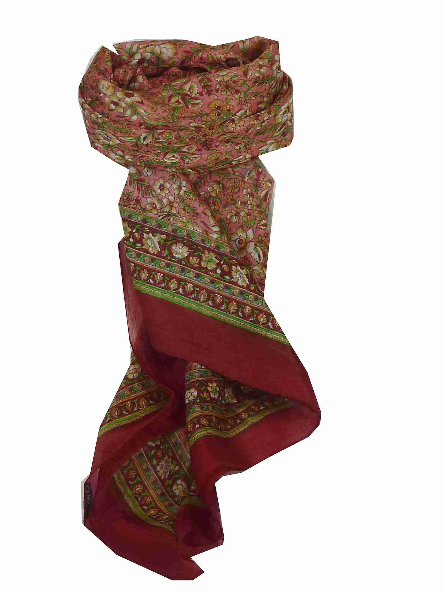 Mulberry Silk Traditional Square Scarf Jind Wine by Pashmina & Silk