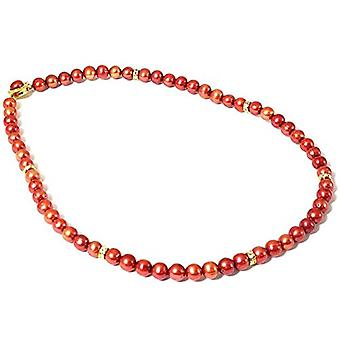 Dyed Bordeaux Spherical Freshwater Cultured Pearl Necklace 18