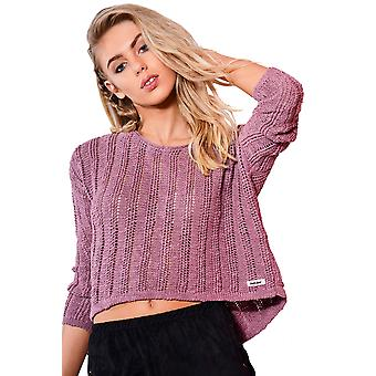 Double Agent Long Sleeved Knitted Crop Top In Purple