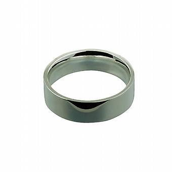 Plata llano corte plano de 7mm en forma de anillo de boda tamaño Z