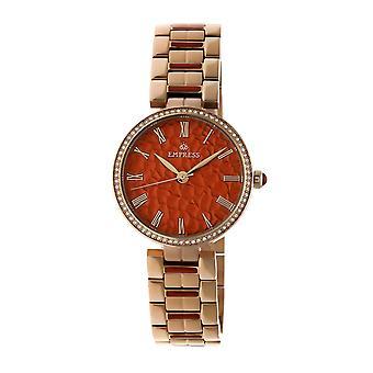 Empress Catherine Automatic Hammered Dial Bracelet Watch - Orange