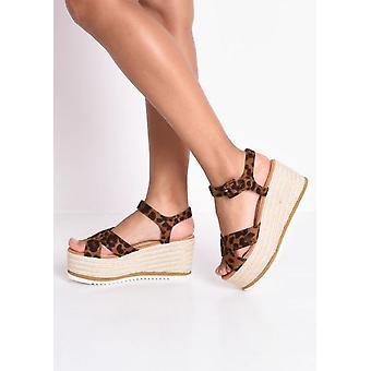 Leopard tulosta espadrillosten kiila sandaalit Multi