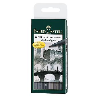 Faber-Castell PITT Artist Brush Pens Set of 6 (Shades of Grey)
