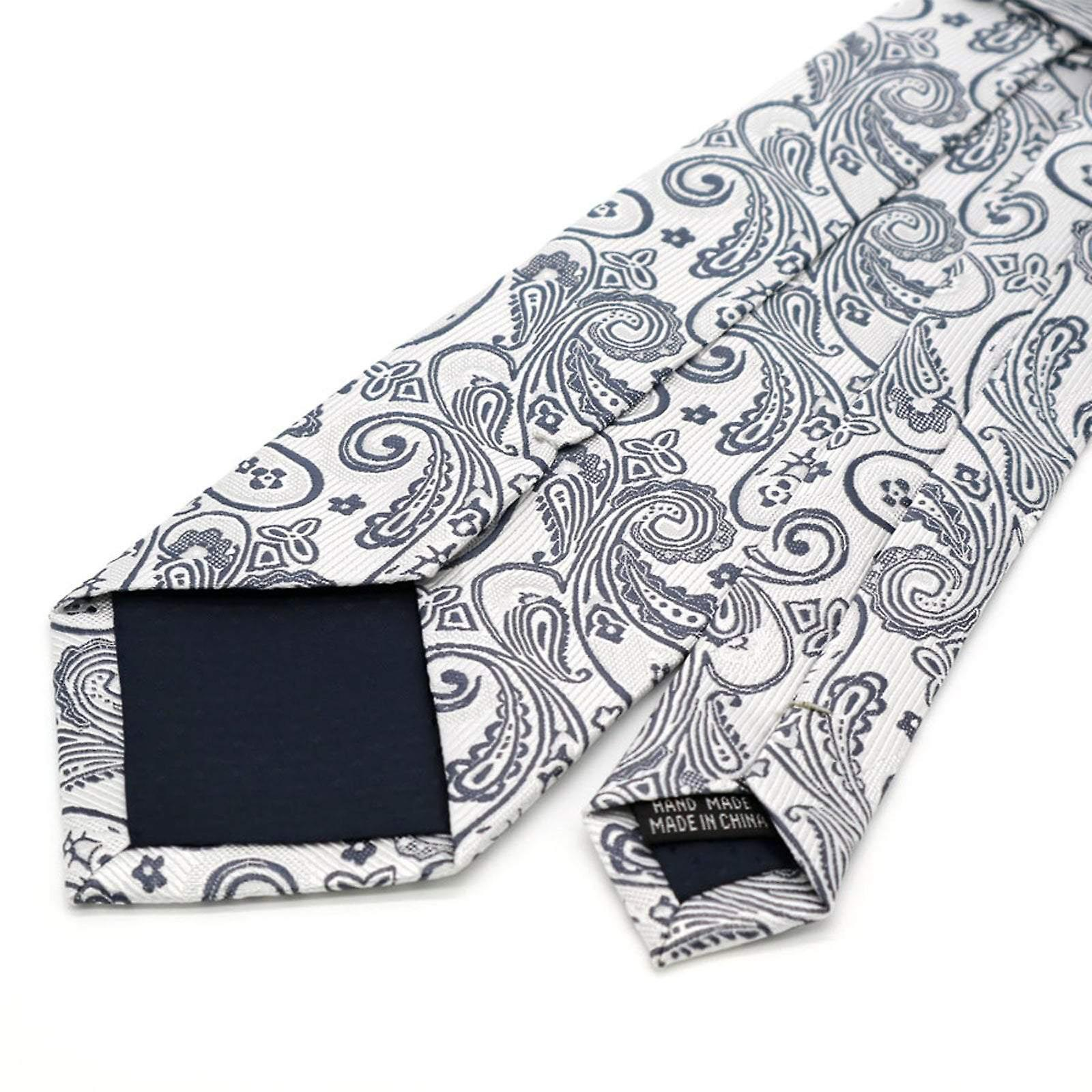 Light grey & silver paisley pattern tie & pocket square