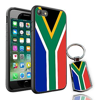 Per Apple iPhone XR - Sud Africa Flag Design stampato Cover Nero + Free Metal Keyring - 0162 di i-Tronixs