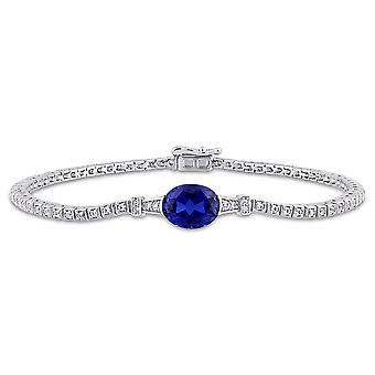 3.75 Carat (ctw) Lab Created Blue and White Sapphire Bracelet in Sterling Silver