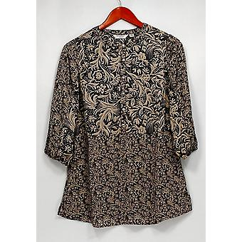 Liz Claiborne New York Top Mixed Print Tunic Gray A268673