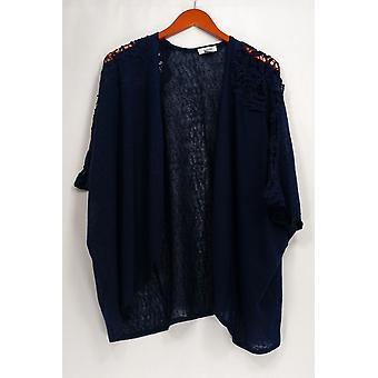 Tashon trui kant schouder kimono open front Navy Blue A273987