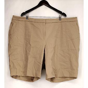 Susan graver plus shorts kust stretch zip front Bermuda beige A265037