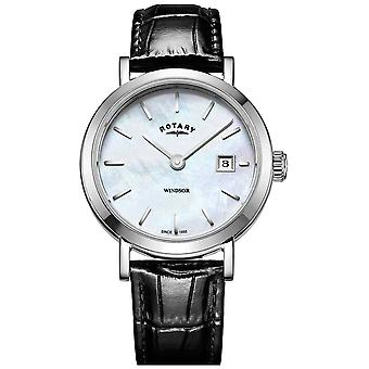 Rotary Womens Windsor Mother of Pearl Dial Black Leather Strap LS05300/41 Watch