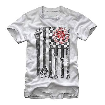 Gaz de Monkey Wrench Garage drapeau T-Shirt blanc