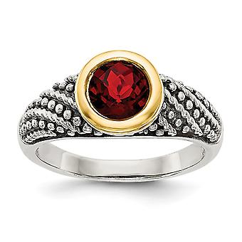 925 Sterling Silver With 14k Garnet Ring  Jewelry Gifts for Women - Ring Size: 6 to 8