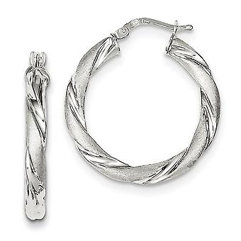 925 Sterling Silver Hinged post Polished and satin Satin and Polished Twisted Hoop Earrings Jewelry Gifts for Women